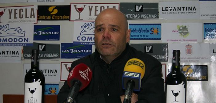 Sanjuán, en sala de prensa tras vencer al Lorca / Á. Ayala