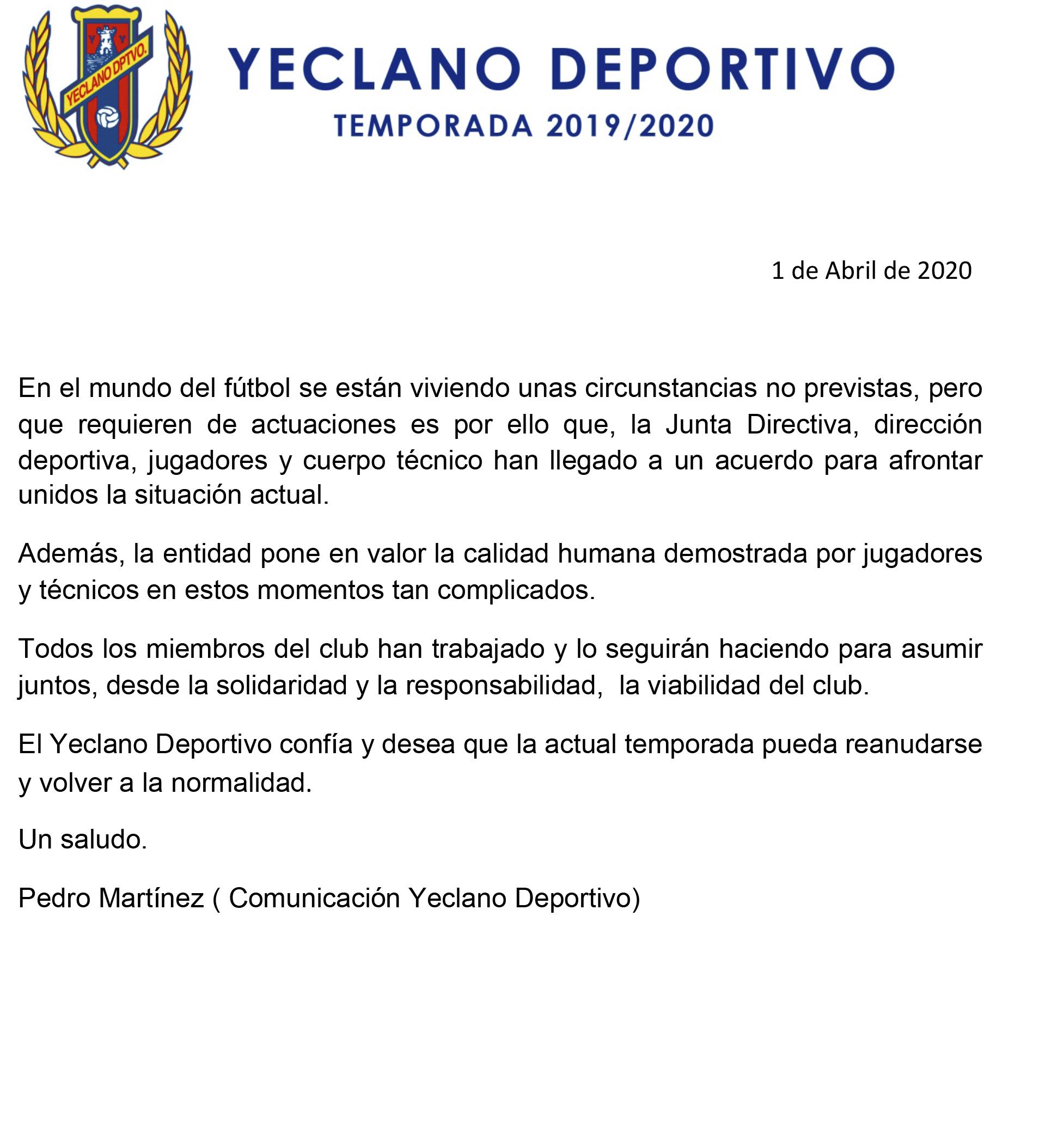YeclaSPort_Comunicado_Yeclano